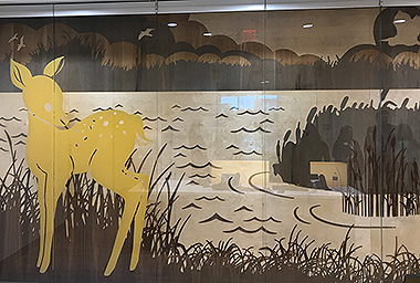 The Second Floor design focuses on the marshes of Louisiana highlighting the Fawn and the Fox